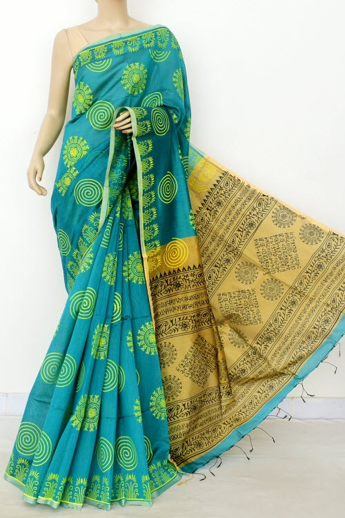 Sea Green Fawn Handloom Masturised Cotton Printed Saree (With Contrast Blouse) 17792