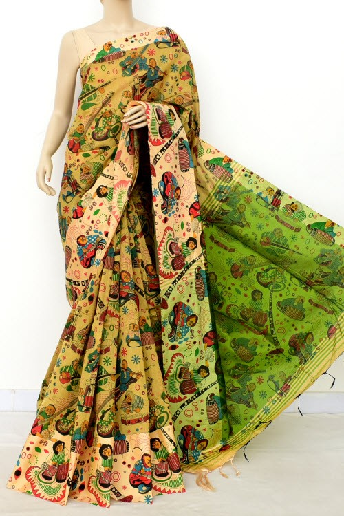 Fawn Handloom Masturised Cotton Printed Saree (With Blouse) 17795