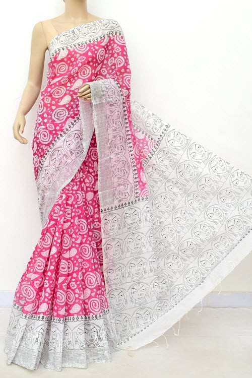 Pink White Handloom Masturised Printed Cotton Saree (With Contrast Blouse) 17798