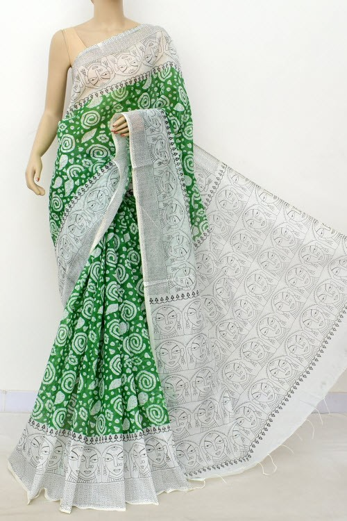 Green White Handloom Masturised Printed Cotton Saree (With Contrast Blouse) 17799