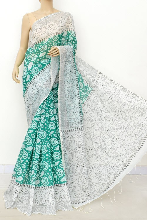 Sea Green White Handloom Masturised Printed Cotton Saree (With Contrast Blouse) 17800