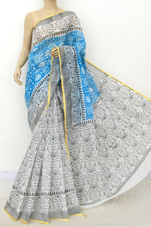 Blue White Handloom Masturised Printed Cotton Saree (With Contrast Blouse) 17801