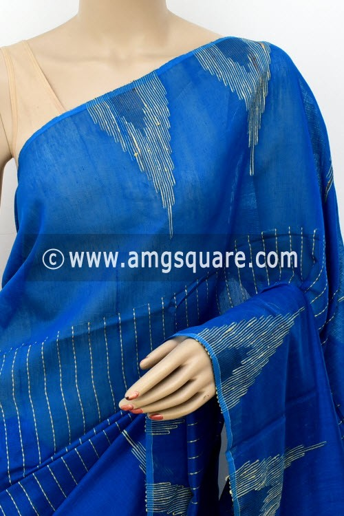 Royal Blue Handloom Masturised Cotton Saree (With Blouse) 17802