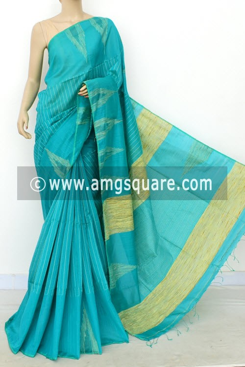 Pherozi Blue Handloom Masturised Cotton Saree (With Blouse) 17803