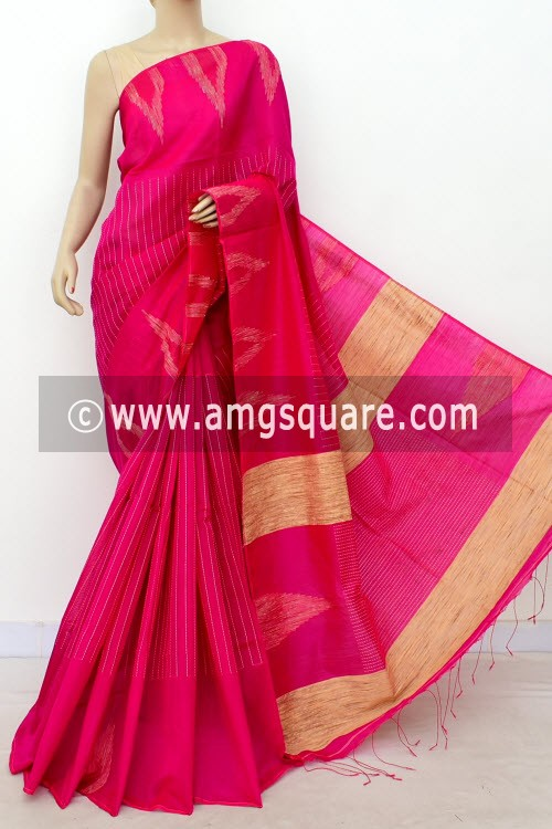 Rani Pink Handloom Masturised Cotton Saree (With Blouse) 17804