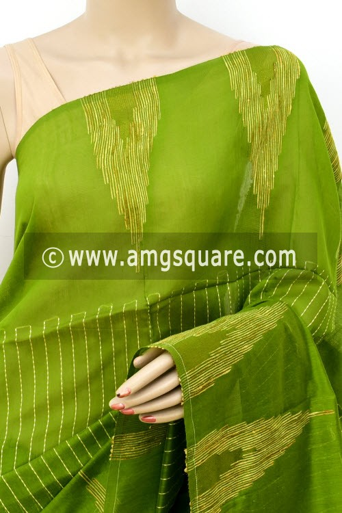 Menhdi Green Handloom Masturised Cotton Saree (With Blouse) 17805