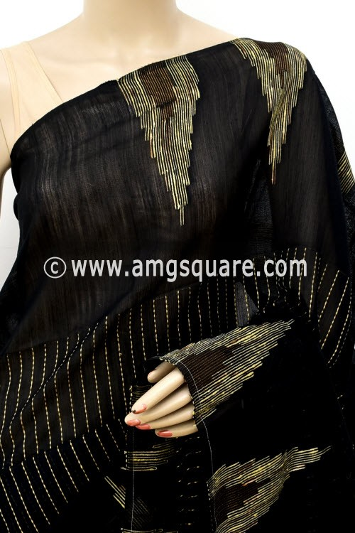 Black Handloom Masturised Cotton Saree (With Blouse) 17806