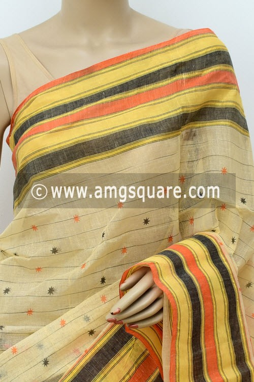 Beige Printed Handwoven Bengal Tant Cotton Saree (Without Blouse) 17808