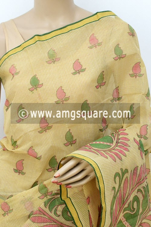 Fawn Block Printed Handwoven Bengal Tant Cotton Saree (Without Blouse) 17812