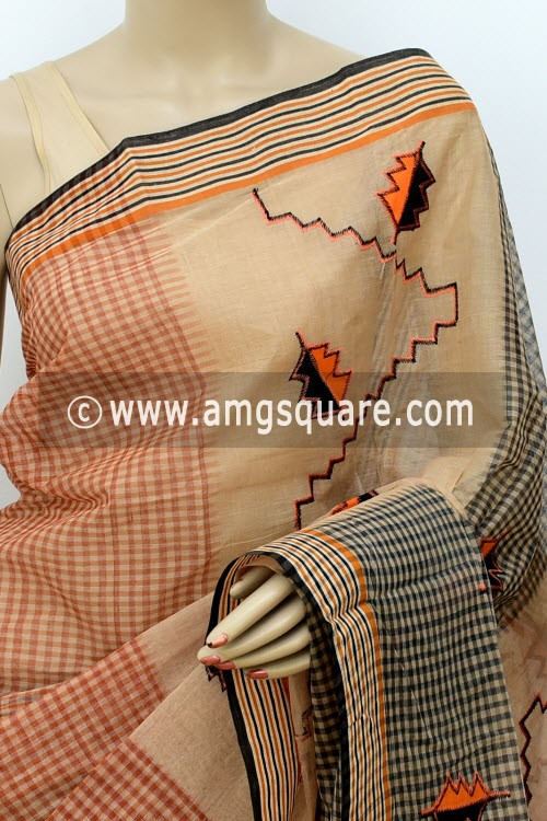 Fawn Designer Handwoven Bengal Tant Cotton Saree (Without Blouse) Applique Work 17816
