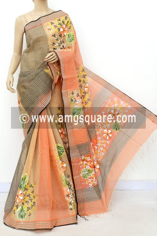 Fawn Designer Hand-print Bengal Tant Cotton Saree (Without Blouse) 17817