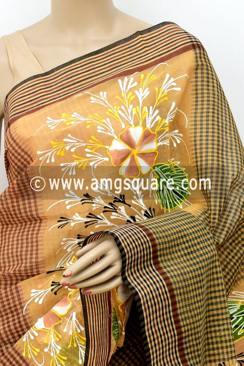 Fawn Designer Hand-print Bengal Tant Cotton Saree (Without Blouse) 17818