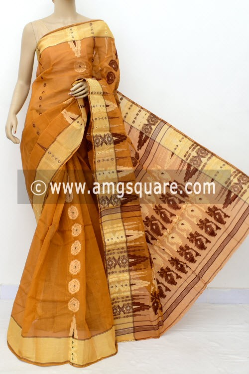 Mustard Handwoven Bengal Tant Cotton Saree (Without Blouse) 17820