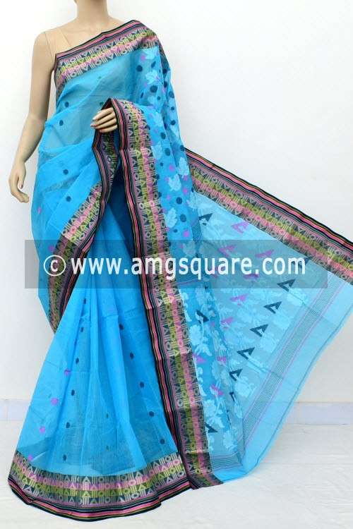 Pherozi Blue ExclusiveHandwoven Bengal Tant Cotton Saree (Without Blouse) Resham Border 17821