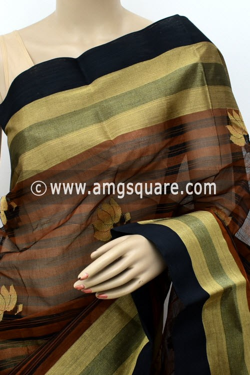 Coffee Exclusive Handwoven Bengal Tant Cotton Saree (Without Blouse) Zari Border & Pallu 17822