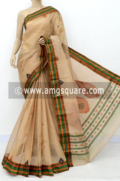 Fawn Exclusive Handwoven Bengal Tant Cotton Saree (With Blouse) 17824