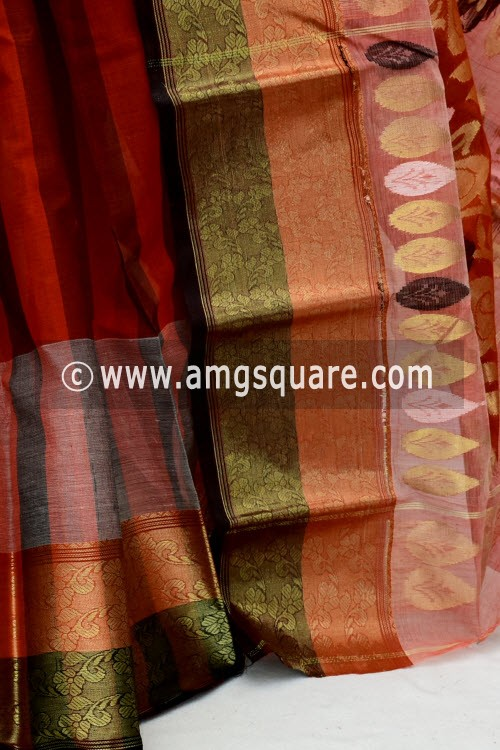 Rust Exclusive Handwoven Bengal Tant Cotton Saree (Without Blouse) Zari Border 17826