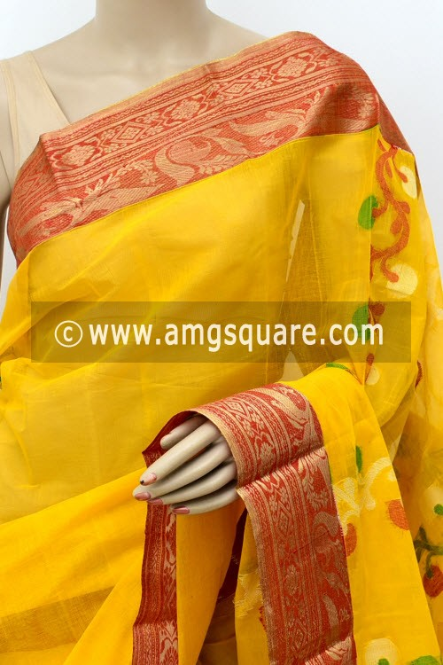 Deep Yellow Handwoven Bengal Tant Cotton Saree (Without Blouse) 17827