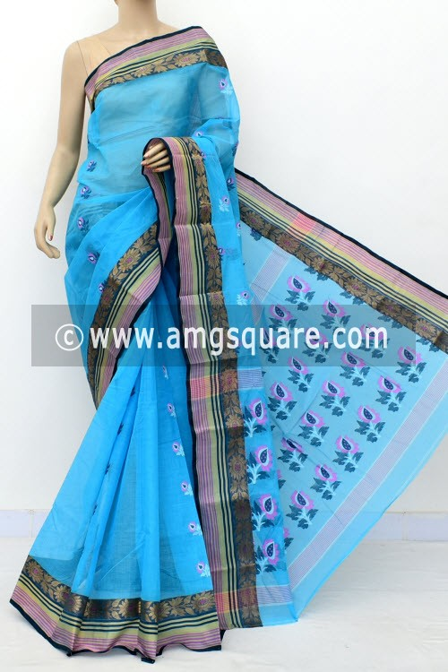 Pherozi Blue Handwoven Bengal Tant Cotton Saree (Without Blouse) 17828
