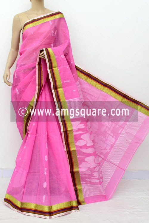 Pink Handwoven Bengal Tant Cotton Saree (Without Blouse) 17830