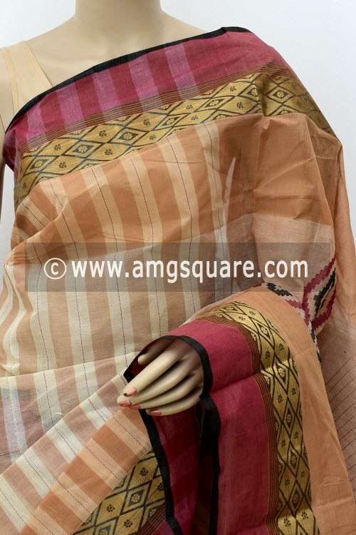 Fawn Designer Handwoven Bengal Tant Cotton Saree (Without Blouse) Zari Border 17834