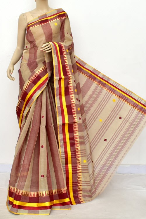 Fawn Maroon Handloom Bengal Tant Cotton Saree (Without Blouse) 17840