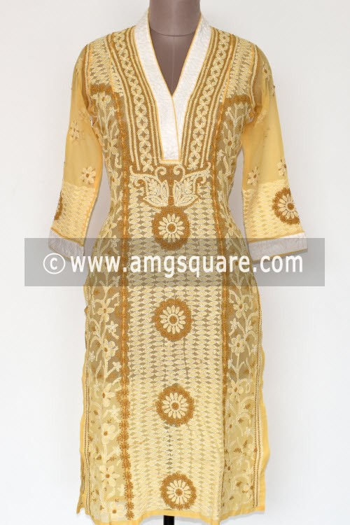 Ochre Yellow Hand Embroidered Lucknowi Chikankari Long Kurti (Georgette) Bust-38 inch 17901