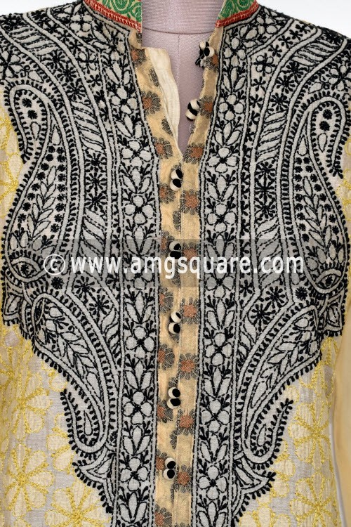 Fawn Hand Embroidered Lucknowi Chikankari Long Kurti (Georgette) Bust-44 inch 17902