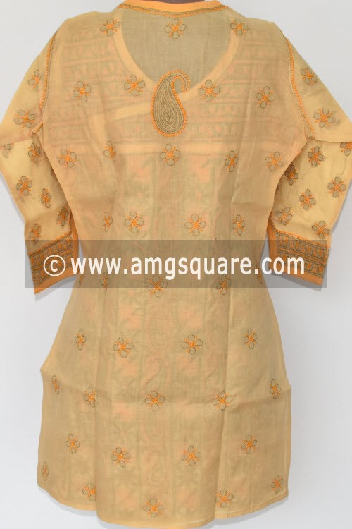 Beige Hand Embroidered Lucknowi Chikankari Short Kurti (Cotton) Angrakha Style Bust-40 inch 17920
