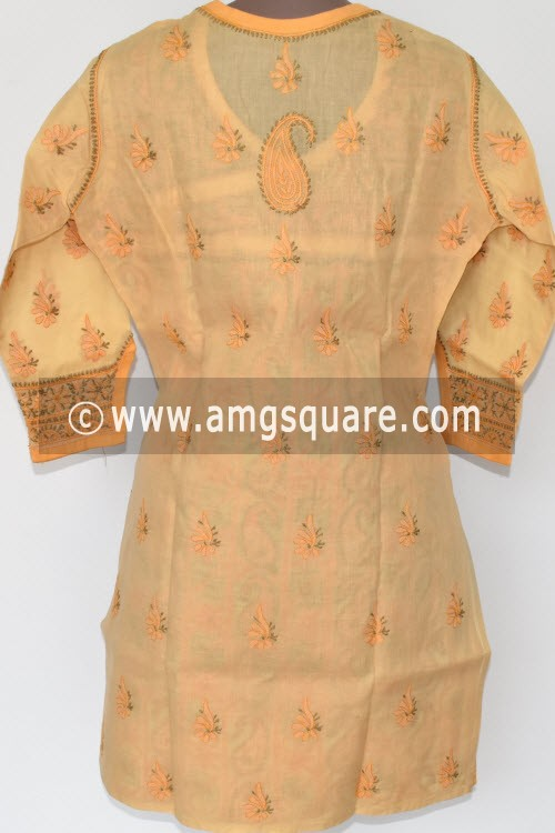 Beige Hand Embroidered Lucknowi Chikankari Short Kurti (Cotton) Angrakha Style Bust-40 inch 17921