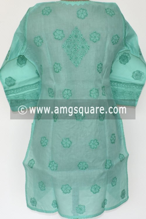 Pista Green Hand Embroidered Lucknowi Chikankari Short Kurti (Cotton) Bust-42 inch 17924
