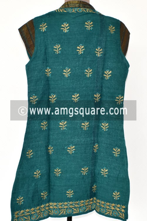 Sea Green Hand Embroidered Lucknowi Chikankari Short Kurti (Mangalgiri Cotton) Bust-34 inch 17931