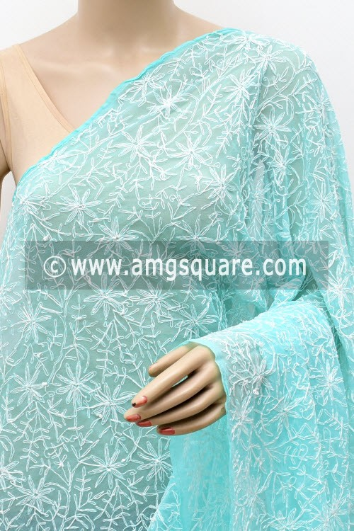 Sea Green Hand Embroidered Allover Tepchi Work Lucknowi Chikankari Dupatta (Georgette) 17952