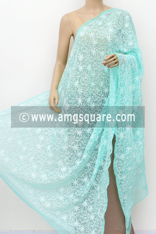 Sea Green Hand Embroidered Allover Tepchi Work Lucknowi Chikankari Dupatta (Georgette) 17954
