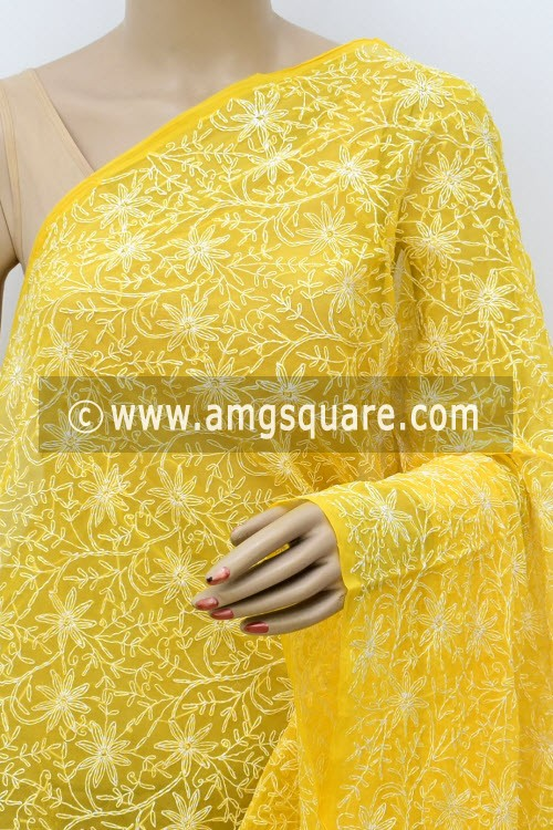 Mango Yellow Hand Embroidered Allover Tepchi Work Lucknowi Chikankari Dupatta (Georgette) 17955