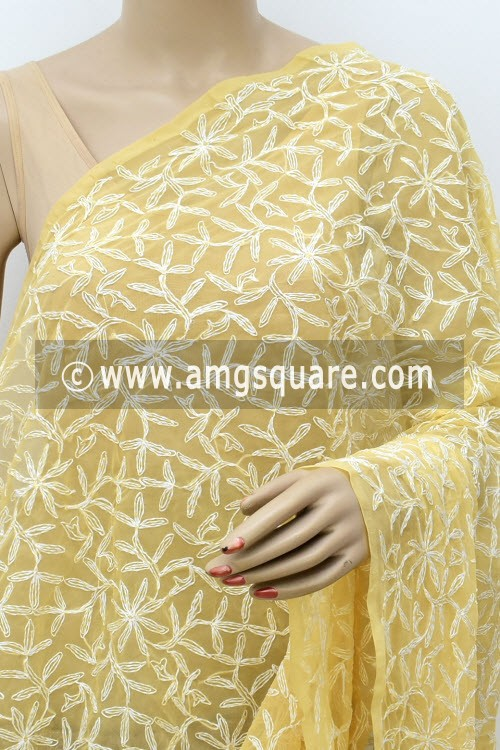 Beige Hand Embroidered Allover Tepchi Work Lucknowi Chikankari Dupatta (Georgette) 17958