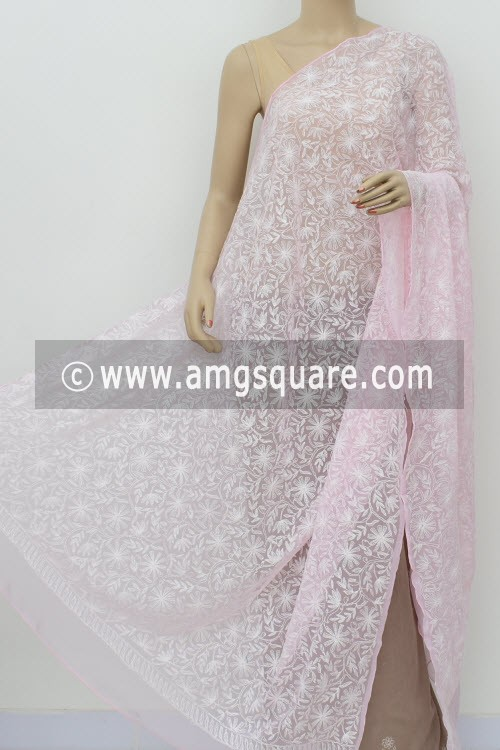 Baby Pink Hand Embroidered Allover Tepchi Work Lucknowi Chikankari Dupatta (Georgette) 17960