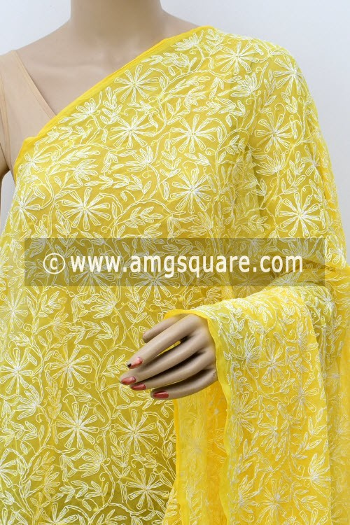 Yellow Hand Embroidered Allover Tepchi Work Lucknowi Chikankari Dupatta (Georgette) 17964