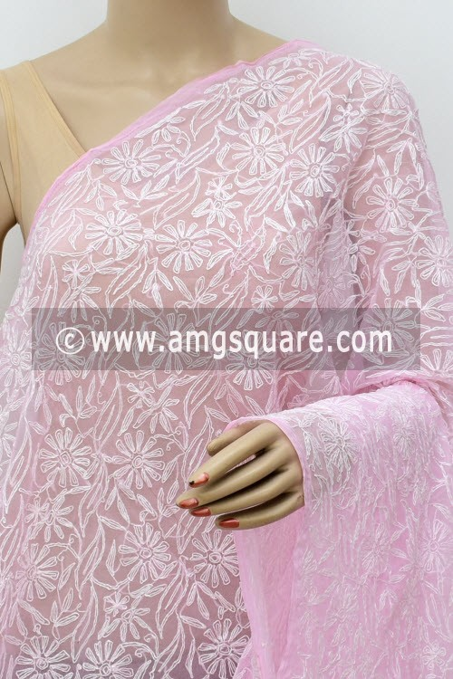 Baby Pink Hand Embroidered Allover Tepchi Work Lucknowi Chikankari Dupatta (Georgette) 17965