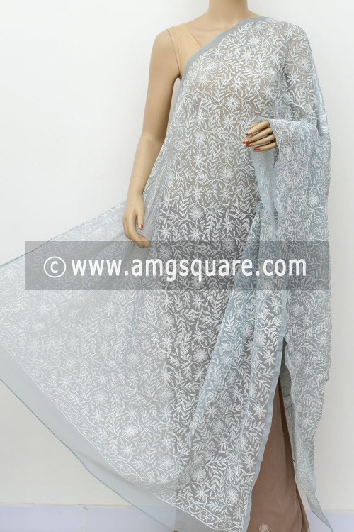 Grey Hand Embroidered Allover Tepchi Work Lucknowi Chikankari Dupatta (Georgette) 17966