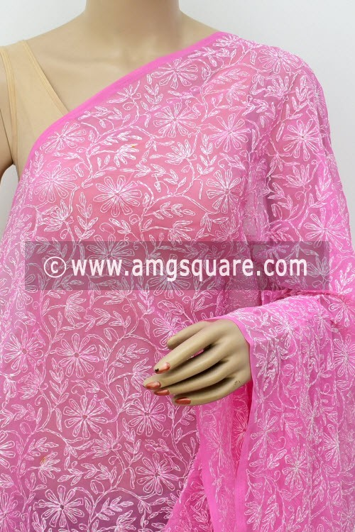 Onion Hand Embroidered Allover Tepchi Work Lucknowi Chikankari Dupatta (Georgette) 17968