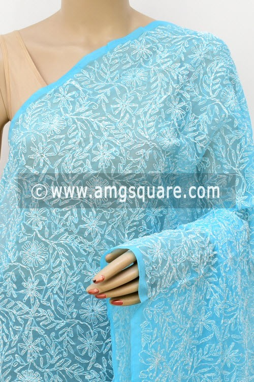 Pherozi Blue Hand Embroidered Allover Tepchi Work Lucknowi Chikankari Dupatta (Georgette) 17973