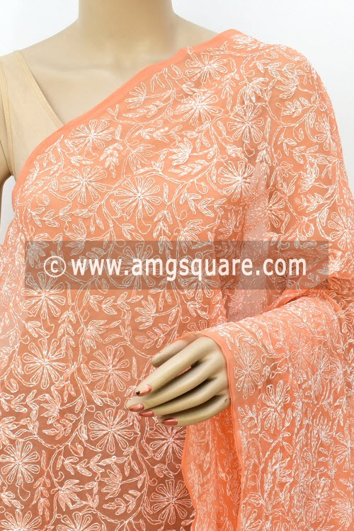Light Orange Hand Embroidered Allover Tepchi Work Lucknowi Chikankari Dupatta (Georgette) 17975
