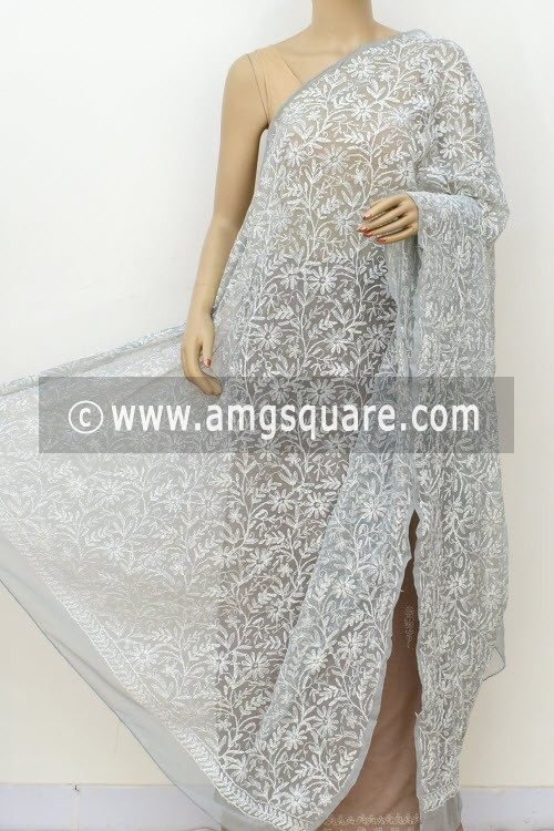 Grey Hand Embroidered Allover Tepchi Work Lucknowi Chikankari Dupatta (Georgette) 17977