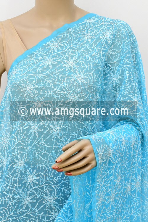 Pherozi Blue Hand Embroidered Allover Tepchi Work Lucknowi Chikankari Dupatta (Georgette) 17978