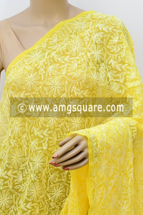 Yellow Hand Embroidered Allover Tepchi Work Lucknowi Chikankari Dupatta (Georgette) 17980