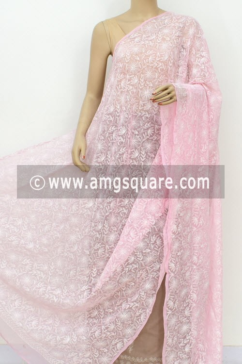Baby Pink Hand Embroidered Allover Tepchi Work Lucknowi Chikankari Dupatta (Georgette) 17981