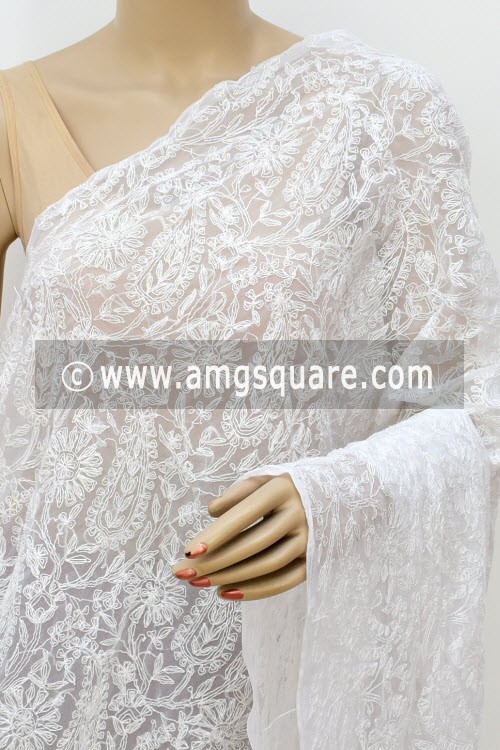 White Hand Embroidered Allover Tepchi Work Lucknowi Chikankari Dupatta (Georgette) 17982