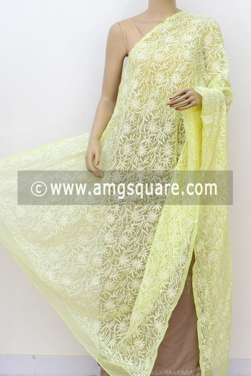 Lemon Yellow Hand Embroidered Allover Tepchi Work Lucknowi Chikankari Dupatta (Georgette) 17984