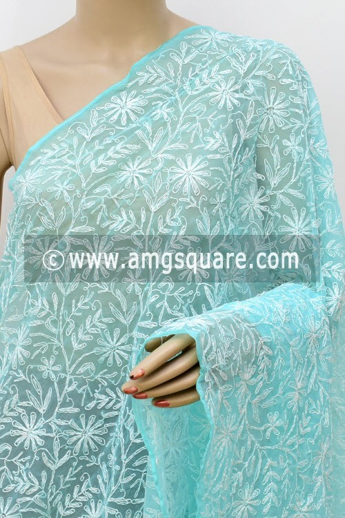 Sea Green Hand Embroidered Allover Tepchi Work Lucknowi Chikankari Dupatta (Georgette) 17985